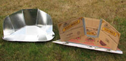 Tom Carter�s modified solar CooKit (right) has fewer curves and is made by joining multiple cardboard panels together (photo: Tom Carter)
