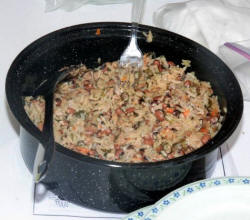 A pot of solar �cook-up� ready for the judges (photo: Guyana Government Information Agency)