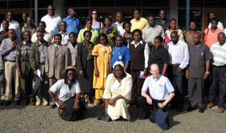 Top staff members from Kenya�s water and health agencies participated in SCI�s water testing and solar pasteurization workshop in Kisumu. Front row (left to right): SCI�s Faustine Odaba, Margaret Owino and Dr. Bob Metcalf