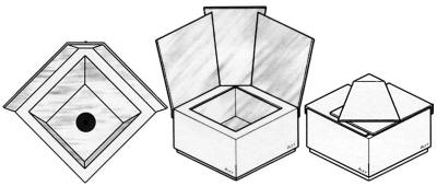 When viewed from the top (far left), the unique interior box shape of the Educooker can be seen.