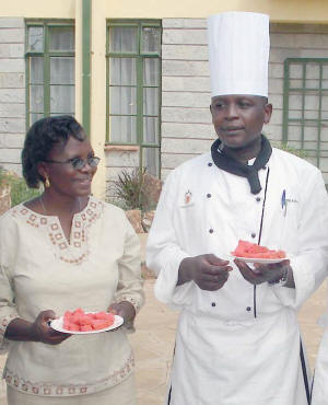Guest house cooks were anxious to sample the solar cake
