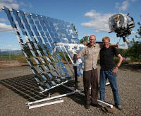 Roast master Mike Hartkop (left) and Helios designer David Hartkop, with a Helios 2 solar coffee roaster