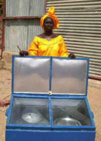 Large, sturdy solar box cookers manufactured by local craftsman are being distributed in M�kh�
