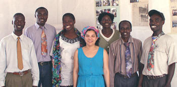 Pascale Dennery with Sunny Solutions project leaders in Nyakach, Kenya (left to right): Zone Supervisor Robert Ogaja, Project Assistant Simon Ogutu, Zone Supervisor Marion Anyango, Pascale Dennery, Project Officer Dinah Chienjo, Zone Supervisor Hesbon Bolo, Zone Supervisor Julius O. Ochieng�