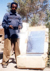 Nahom Nigussie is fascinated by his solar box cooker.
