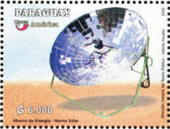 The Paraguay postage stamp features a parabolic-type solar cooker