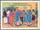 The Tanzania postage stamp features a panel-type solar cooker.