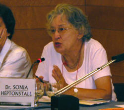Advocacy group leader Sonia Heptonstall, a solar cooking representative at the UN in Geneva, shares her knowledge with other promoters.