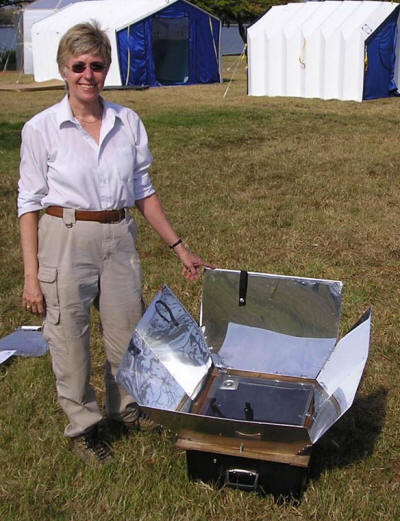 The Global Sun Oven� was among the solar cookers displayed by Pat McArdle at the TIDES exhibit
