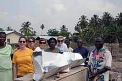 Ghanaian villagers expressed appreciation for the solar cooking kits provided by Elon University students as part of a study abroad course (Photo: Periclean Scholars 2010)