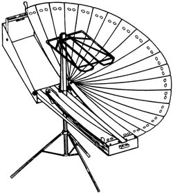Shown here with half of its reflectors open and half stored, the Solnar Tarcici Collapsible Solar Cooker offers a unique design for portable parabolic solar cookers (Image: U.S. Patent and Trademark Office)